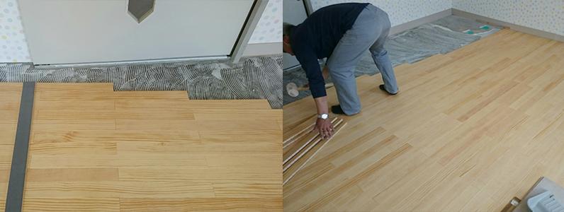 カーペット床改修工事、フローリング直貼り施工状況2