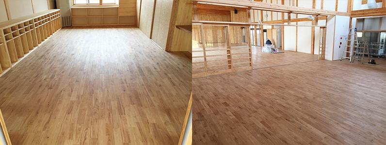 中学校新築工事に伴う置床・乾式二重床、針葉樹合板捨て貼り、フローリング根太張り施工完了2
