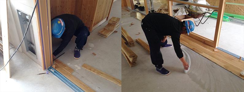 校舎棟新設工事、フローリング直貼りオーシカボンド塗布