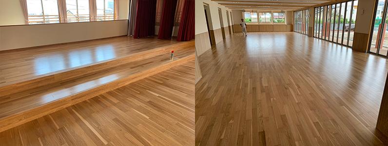 保育園多目的棟新築工事、床暖房廻りダミー捨て貼り施工後、フローリング施工完了