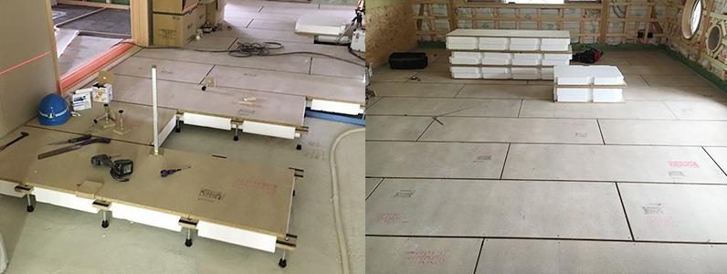 保育園新築工事、置床・乾式二重床、発泡ビーズ泡ポリスチレンフォーム施工完成
