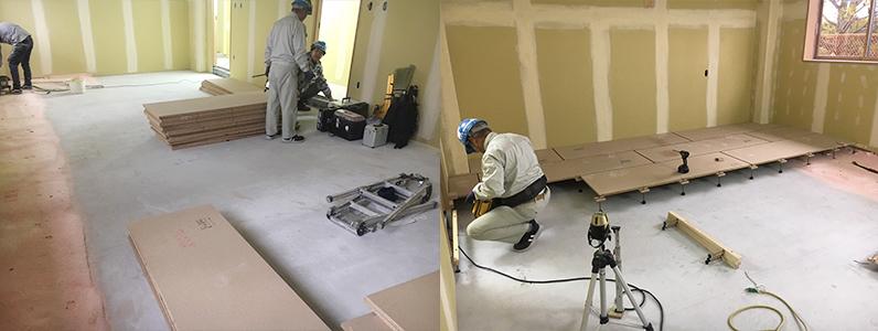 高等学校学生寮増築工事、置床・乾式二重床レベル調整