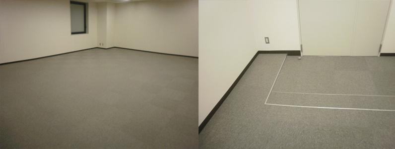 事務所床改修工事、溝配線置き敷式OAフロア施工及びスロープ設置完了