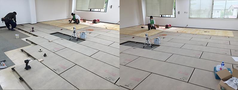 テナントダンススタジオ改修工事、置床・乾式二重床施工及び捨て貼り
