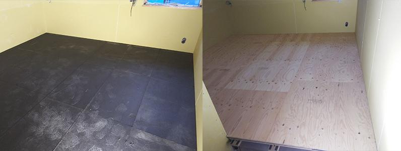 ホテル新築工事、置床・乾式二重床、防振マット施工完了、捨て貼り完了