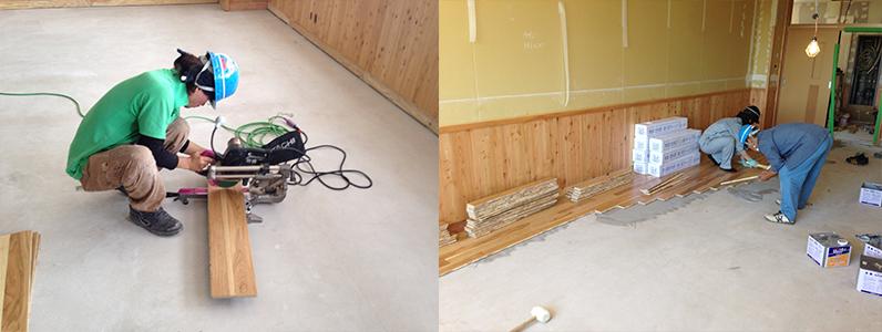 校舎棟新設工事、フローリング直貼り切り込み加工作業