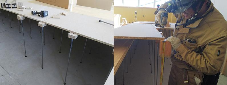 高等学校新築工事、置床・乾式二重床、万協フロアーパーチクルボード用支持脚固定用ビス止め