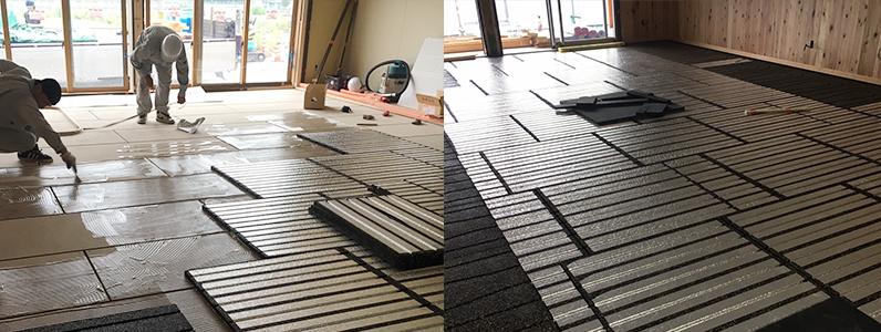 保育園新築工事、置床・乾式二重床、床暖パネル施工
