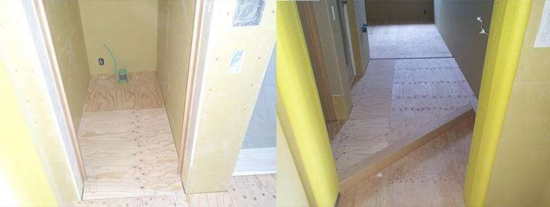 ホテル新築工事、置床・乾式二重床、針葉樹合板捨て貼り完了