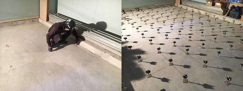 医院新築に伴う置床・乾式二重床及びOAフロア支持脚設置施工