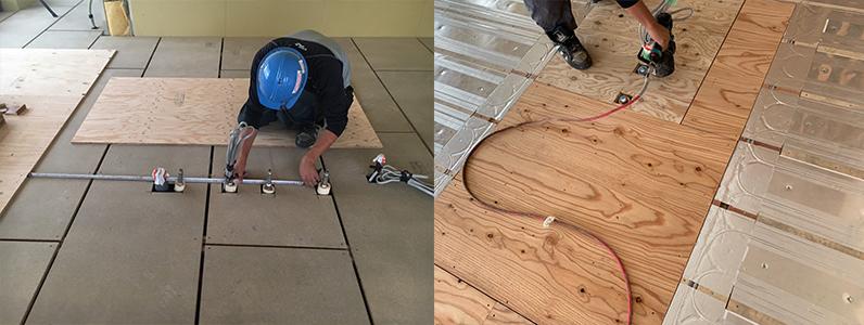 ゲストハウス新築工事、置床・乾式二重床後、捨て貼り施工