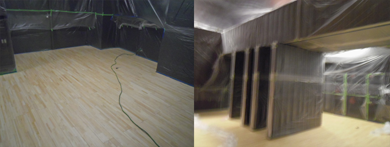 多目的ホールステージポリッシャー研磨完了