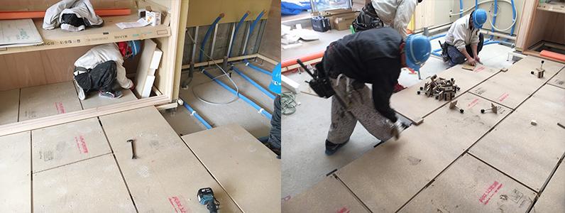 保育園第2期新築工事、置床・乾式二重床断熱パネルパーチクルボード施工、アジャスターレベル調整