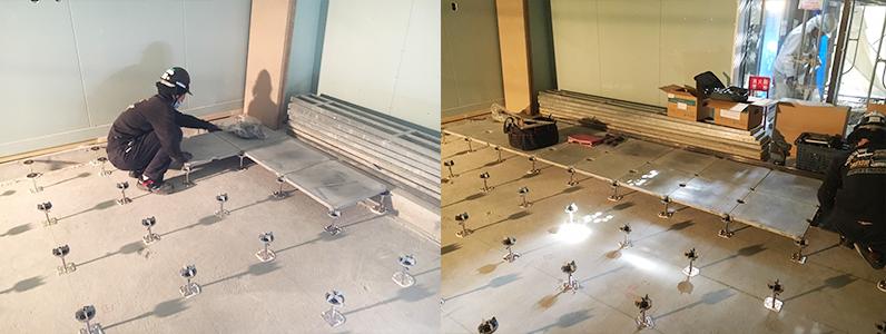 医院新築に伴う置床・乾式二重床及びOAフロアパネル設置施工