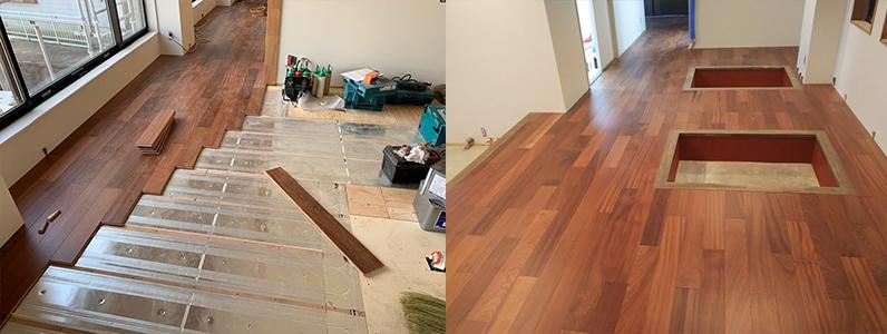 ゲストハウス新築工事、置床・乾式二重床後、捨て貼り施工後フローリング根太張り
