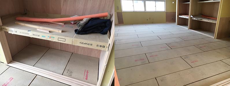 保育園第2期新築工事、置床・乾式二重床断熱パネルパーチクルボード施工完了