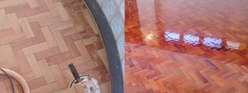 ホテル改装工事、置床・乾式二重床、ヘリンボーン部分張替え後サンディング