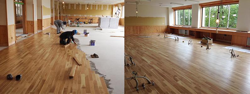 校舎棟新設工事、フローリング直貼り床貼り付け施工状況
