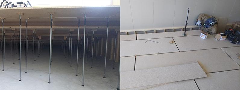 高等学校新築工事、置床・乾式二重床施工完了