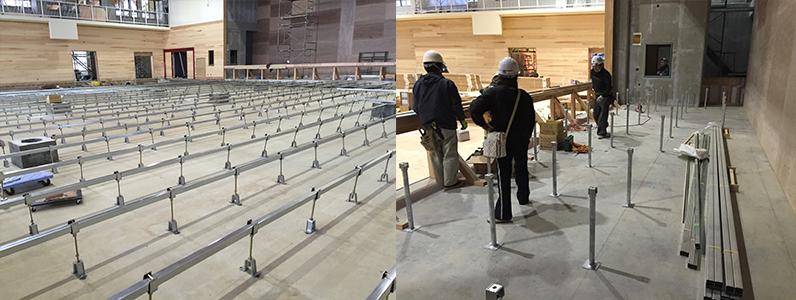 体育館床改修工事、組床式鋼製床下地ステージ施工