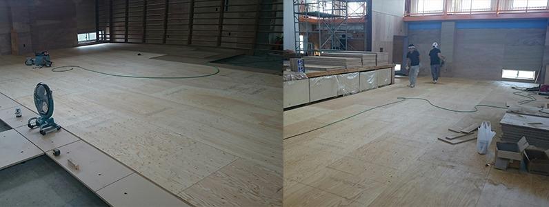 鋼製床下地置床式コンパネ捨て貼り施工