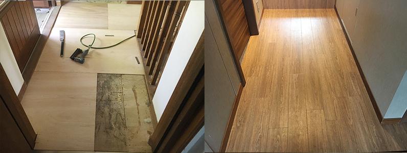 置床・乾式二重床、フローリング釘打ち施工