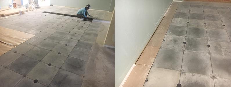 医院新築に伴う置床・乾式二重床及びOAフロアパネル設置完了