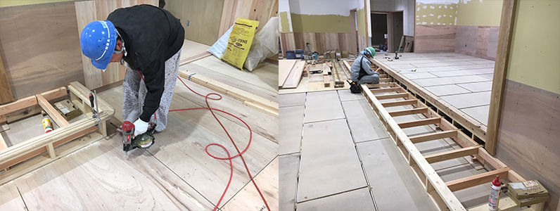 保育園第2期新築工事、置床・乾式二重床断熱パネルパーチクルボード施工完了捨て貼り作業