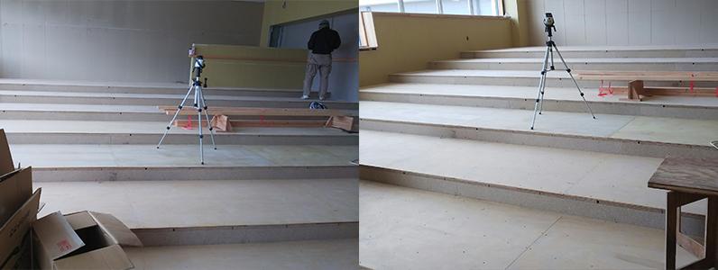高等学校新築工事、置床・乾式二重床階段段差施工