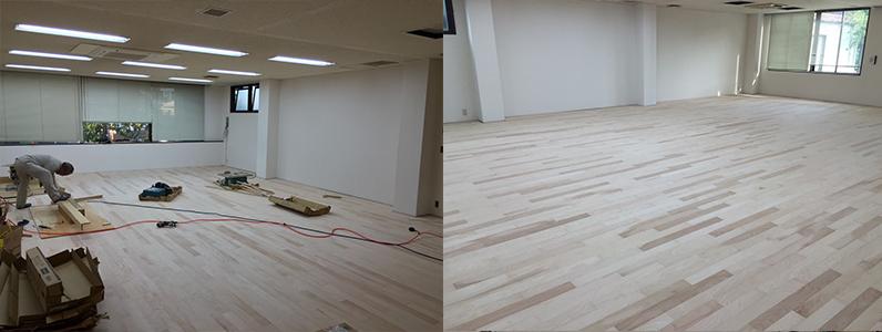 テナントダンススタジオ改修工事、置床・乾式二重床、フローリング根太張り施工