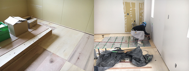 医院新築、置床施工後床暖房廻りダミー合板捨て貼り