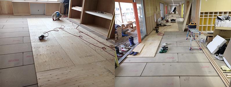 保育園第2期新築工事、置床・乾式二重床断熱パネルパーチクルボード施工完了捨て貼り釘打ち