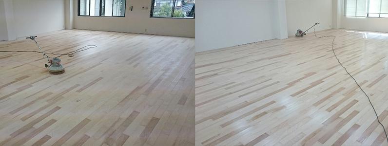 テナントダンススタジオ改修工事、置床・乾式二重床、フローリング根太張り施工完了
