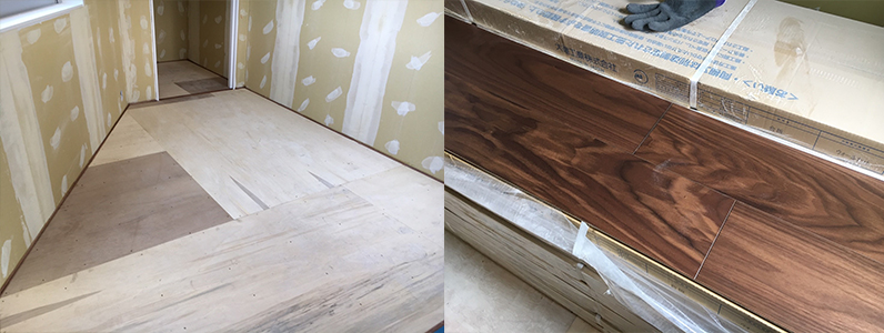 医院新築に伴う置床・乾式二重床、捨て貼り施工後フローリング根太張り