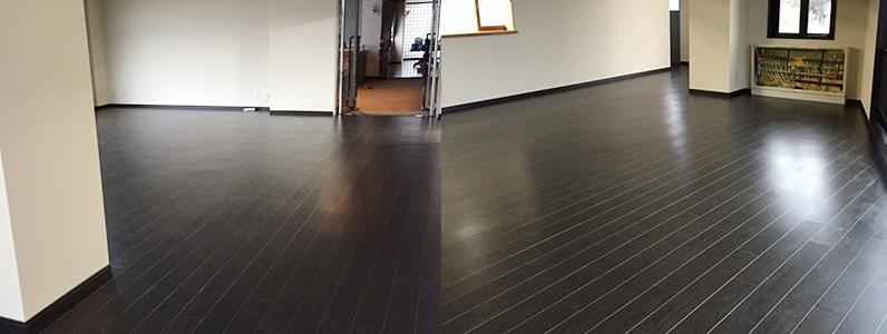 ホテル改装工事、置床・乾式二重床、フローリング直貼り完了