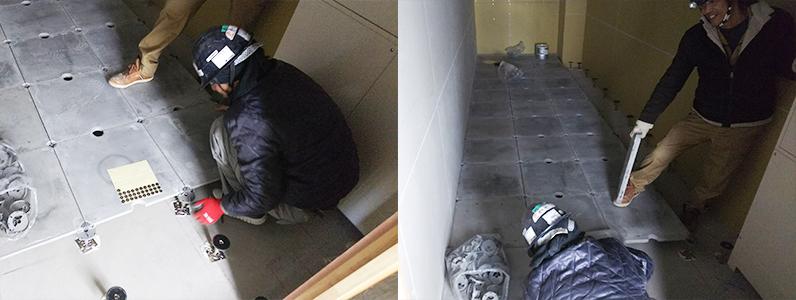 高等学校新築工事、置床・乾式二重床及びOAフロア支持脚設置施工