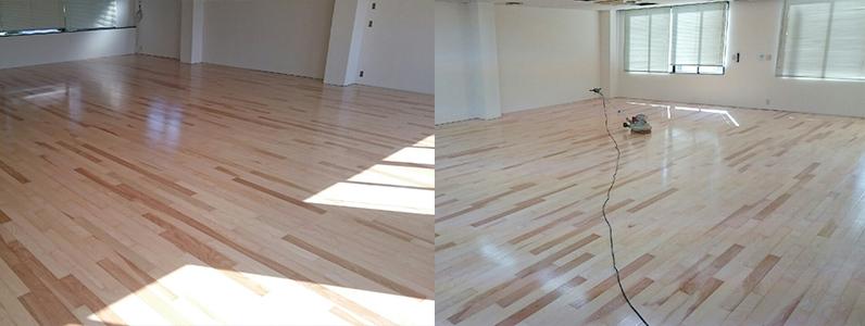 テナントダンススタジオ改修工事、置床・乾式二重床、フローリング根太張り、ダンスフロア用コーティング