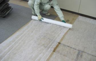 溝配線置き敷式OAフロアパネル及びタイルカーペット工事