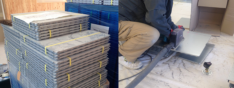 レベル調整式OAフロアパネル切断加工及び設置