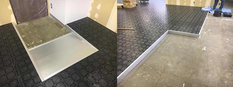 既存床スロープ設置及び見切り設置OAフロア施工