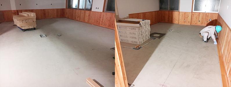 高等学校商業科棟、フローリング直貼り施工前