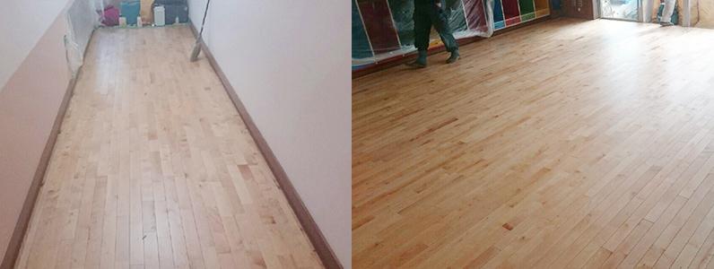 保育園床改修工事、置床・乾式二重床施工後、フローリング捨て貼り釘打ち施工