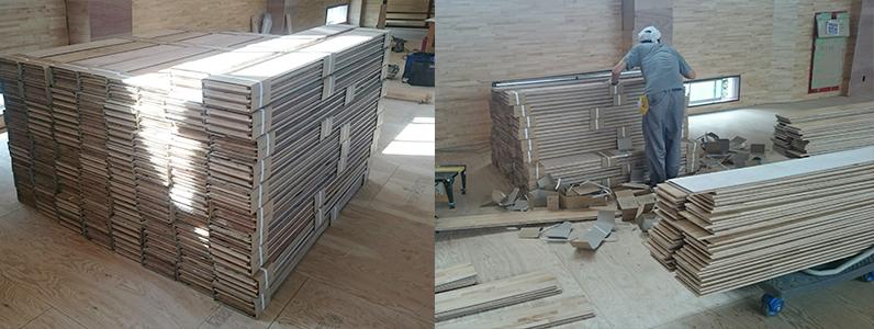 体育館置床式鋼製床下地施工後、捨て貼り、フローリング貼り準備