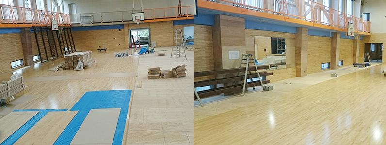 体育館置床式鋼製床下地、大型積層材フローリング根太張り