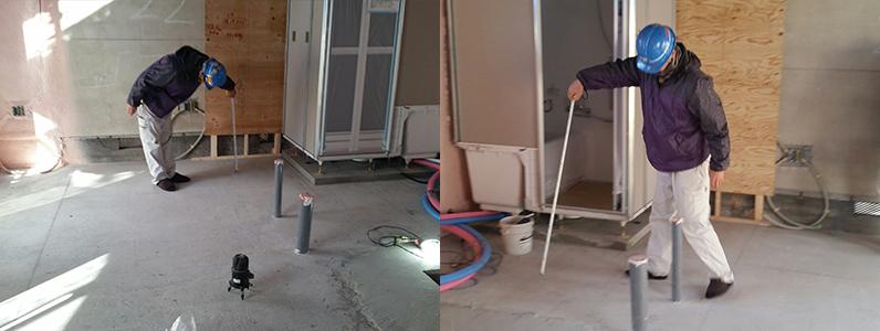 県営住宅置床・乾式二重床施工及び点検口、見切り、フローリング釘打ち前