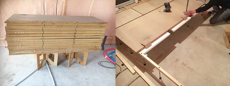 置床・乾式二重床支持脚設置及びパネル設置