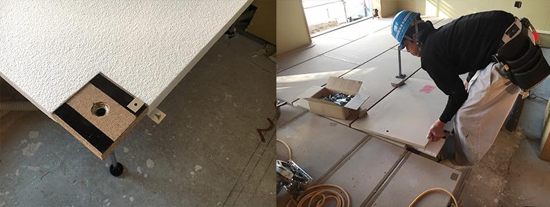 県営住宅置床・乾式二重床施工、際根太設置、パーティクルボード設置作業