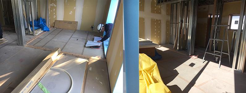 県営住宅置床・乾式二重床施工、際根太設置、パーティクルボード設置完了