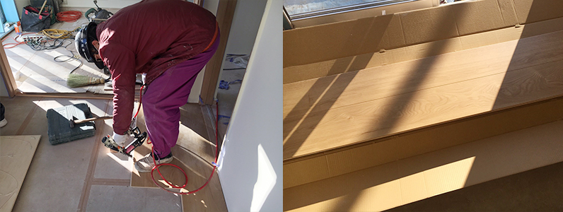 県営住宅置床・乾式二重床施工、際根太設置、パーティクルボード点検口サイズ切り込み、フローリング施工完了