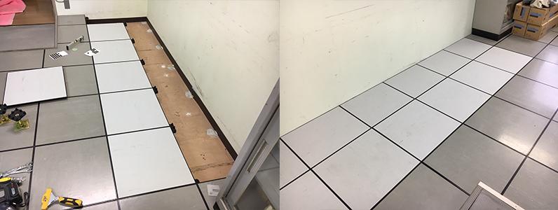 事務所既存OAフロア部分改修、新規支持脚及びパネル設置施工完了